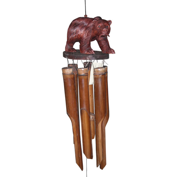 Cohasset Bear With Salmon Bamboo Wind Chime Cohasset Bear
