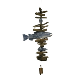 Cohasset Blue & White Fish with Shells Driftwood Mobile