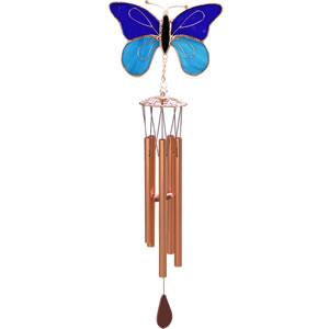 Gift Essentials Stained Glass Butterfly Wind Chime - Dark & Light Blue