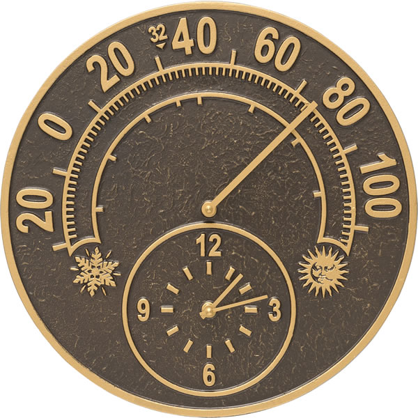 Whitehall Products Solstice Wall Clock Amp Thermometer