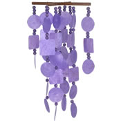 Woodstock Purple Capiz Chime with Wood Beads